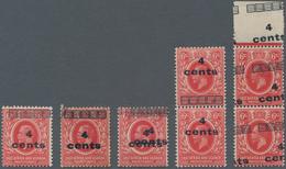 Britisch-Ostafrika Und Uganda: 1921 4c. On 6c. Scarlet, Seven Stamps (incl. Two Pairs), With Mint An - Kenya, Uganda & Tanganyika