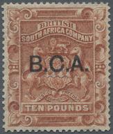 "Britisch-Zentralafrika: 1891-95 £10 Brown Optd. ""B.C.A."", Mint Lightly Hinged, Fresh And Very Fine. - Zonder Classificatie"