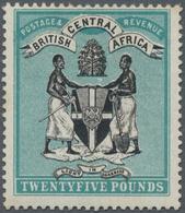 Britisch-Zentralafrika: 1895 'Coat Of Arms' £25 Black & Blue-green, No Wmk, Mint Lightly Hinged, Lig - Zonder Classificatie