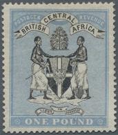 Britisch-Zentralafrika: 1896 'Arms' £1 Black & Blue, Wmk Crown CC, Mint Lightly Hinged, Fresh And Fi - Zonder Classificatie