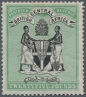 Britisch-Zentralafrika: 1896 'Coat Of Arms' £25 Black & Green, Wmk Crown CC, Mint Lightly Hinged, Fr - Zonder Classificatie
