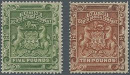 Britische Südafrika-Gesellschaft: 1892, £5 Sage-green And £10 Brown, Unused No Gum, Signed And Certi - Zuid-Afrika (...-1961)