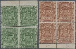 Britische Südafrika-Gesellschaft: 1892, £5 Sage-green And £10 Brown, Two Marginal Blocks Of Four, Un - Zuid-Afrika (...-1961)