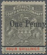 Britische Südafrika-Gesellschaft: 1896 'Matabele Rebellion Provisional' 1d. On 4s. Grey-black & Verm - Zuid-Afrika (...-1961)