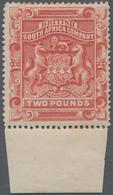 Britische Südafrika-Gesellschaft: 1897 £2 Rosy Red, Bottom Marginal Single, Mounted Mint, Partially - Zuid-Afrika (...-1961)