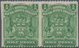Britische Südafrika-Gesellschaft: 1898-1908 ½d. Yellow-green Horizontal Pair, Variety IMPERFORATED V - Zuid-Afrika (...-1961)