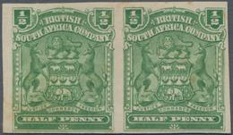 Britische Südafrika-Gesellschaft: 1898-1908 ½d. Yellow-green Horizontal Pair, Variety IMPERFORATED, - Zuid-Afrika (...-1961)