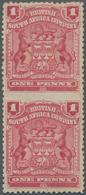 Britische Südafrika-Gesellschaft: 1898-1908 1d. Rose Vertical Pair, Variety IMPERFORATED BETWEEN, Mo - Zuid-Afrika (...-1961)