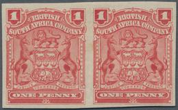Britische Südafrika-Gesellschaft: 1898-1908 1d. Red Horizontal Pair, Variety IMPERFORATED, Mounted M - Zuid-Afrika (...-1961)