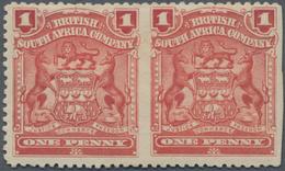 Britische Südafrika-Gesellschaft: 1898-1908 1d. Red Horizontal Pair, Variety IMPERFORATED BETWEEN An - Zuid-Afrika (...-1961)