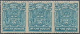 Britische Südafrika-Gesellschaft: 1898-1908 2½d. Blue Horizontal Strip Of Three, Variety IMPERFORATE - Zuid-Afrika (...-1961)