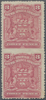 Britische Südafrika-Gesellschaft: 1898-1908 3d. Claret Vertical Pair, Variety IMPERFORATED BETWEEN, - Zuid-Afrika (...-1961)