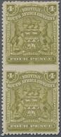 Britische Südafrika-Gesellschaft: 1898-1908 4d. Olive Vertical Pair, Variety IMPERFORATED BETWEEN, M - Zuid-Afrika (...-1961)