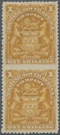 Britische Südafrika-Gesellschaft: 1898-1908 1s. Bistre Vertical Pair, Variety IMPERFORATED BETWEEN, - Zuid-Afrika (...-1961)