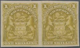 Britische Südafrika-Gesellschaft: 1898-1908 1s. Deep Olive-bistre, Horizontal Pair, Variety IMPERFOR - Zuid-Afrika (...-1961)