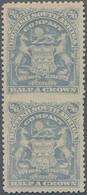 Britische Südafrika-Gesellschaft: 1898-1908 2s6d. Bluish Grey Vertical Pair, Variety IMPERFORATED BE - Zuid-Afrika (...-1961)