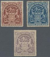 Britische Südafrika-Gesellschaft: 1898-1908 'Coat Of Arms' £2 Brown, £5 Blue And £10 Lilac, All Moun - Zuid-Afrika (...-1961)