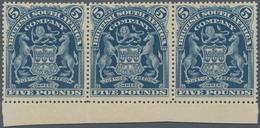 Britische Südafrika-Gesellschaft: 1901, £5 Deep Blue, Bottom Marginal Horizontal Strip Of Three, Unu - Zuid-Afrika (...-1961)