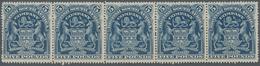 Britische Südafrika-Gesellschaft: 1901, £5 Deep Blue, Horizontal Strip Of Five, Unused Without Gum, - Zuid-Afrika (...-1961)