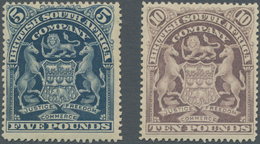 Britische Südafrika-Gesellschaft: 1901, £5 Deep Blue And £10 Lilac, Mint Original Gum With Adhesion - Zuid-Afrika (...-1961)