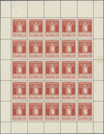 Dänemark - Grönländisches Handelskontor: 1915, 20ö. Red, Perf. 11¼, Complete (folded) Sheet Of 25 St - Groenland