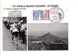 OBLITERATION CYCLISME ARRIVEE AU SOMMET DU PUY DE DOME DU TOUR DE FRANCE 1986 - Marcophilie (Lettres)