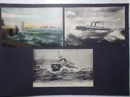Lot 3 Cartes Postales Bateaux Divers (2777) - Bateaux