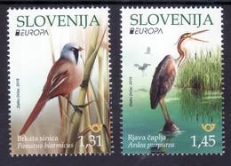3333 Slowenien Slovenia 2019 ** MNH Seria Europa CEPT Bird Vogel Purple Heron And Bearded Reedling - Slowenien