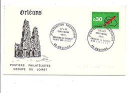 OBLITERATION EXPO PHILA. à ORLEANS LOIRET 1973 - Gedenkstempel