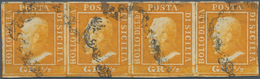 Italien - Altitalienische Staaten: Sizilien: 1859, 1/2 Grano, Orange, Second Plate, Horizontal Strip - Sicilië