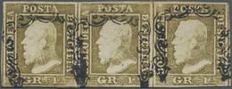 Italien - Altitalienische Staaten: Sizilien: 1859, 1 Gr Brown-olive In Horizontal Stripe Of Three Ca - Sicilië