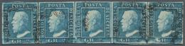 Italien - Altitalienische Staaten: Sizilien: 1959, 2 Gr Blue Horizontal Stripe Of Five Stamped, Most - Sicilië