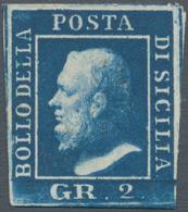 Italien - Altitalienische Staaten: Sizilien: 1859, 2 Grana Blue, Naples Paper, Third Plate, Mint, Ce - Sicilië
