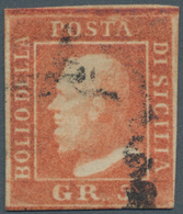 Italien - Altitalienische Staaten: Sizilien: 1859, 5 Grana Vermilion Second Plate Used, Close To Ful - Sicilië