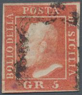 Italien - Altitalienische Staaten: Sizilien: 1859, 5 Grana Vermilion, Second Plate, Used, Well-margi - Sicilië