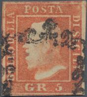 Italien - Altitalienische Staaten: Sizilien: 1859, 5 Gr Vermilion Second Plate Cancelled With Sicili - Sicilië