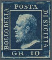Italien - Altitalienische Staaten: Sizilien: 1859. 10 Grana Indigo, Wide Margins, Full Original Gum, - Sicilië