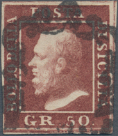 Italien - Altitalienische Staaten: Sizilien: 1859, 50 Gr Lilac-brown Cancelled With Sicilian Horsesh - Sicilië
