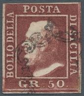 "Italien - Altitalienische Staaten: Sizilien: 1859, ""50 Gr. Ferdinand II"", Colour-fresh Value With Su - Sicilië"