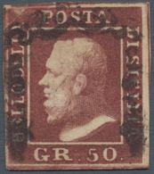 Italien - Altitalienische Staaten: Sizilien: 1859, 50gr. Purple Brown, Intense Colour, Full To Large - Sicilië