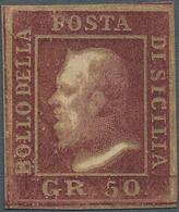"Italien - Altitalienische Staaten: Sizilien: 1859. 50 Grana Brown, ""oily Print"", Wide Margins, Full - Sicilië"