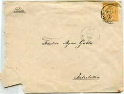 M32 :  PAIX ET COMMERCE 25c 1881 BISTRE SUR LETTRE NICE - Marcophilie (Lettres)