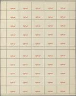 "Luxemburg - Dienstmarken: 1935, ""Officiel"" Overprint In Red, Gutter Sheet Of 50 Albino Fields Each W - Officials"