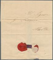 """Malta - Vorphilatelie: 1845, Quarantine Camp, Entire Lettersheet Dated """"Lazzaretto Di Malta 21 Maggi - Malta"""