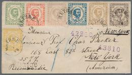Montenegro: 1890, Envelope Registered To New York Bearing Complete Set Of Second Printing 2n To 25n - Montenegro
