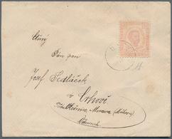 Montenegro: 1892, Envelope To Austria (Moravia) Franked Second Printing 7n Pale Venetian Red, Perf 1 - Montenegro