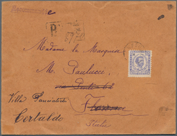 Montenegro: 1894, Envelope Registered To FLORENCE, Re-directed To CERTALDO, Single Franked 50n Blue, - Montenegro