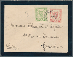 Montenegro: 1896, Mourning Envelope To Switzerland, Franked 3n Green, Perf 11½ And 7n Rose, Perf 10½ - Montenegro