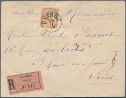 Montenegro: 1900, Commercial Registered Letter To France Single Franked 1894 New Values 20n Orange-b - Montenegro