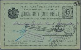 Montenegro - Ganzsachen: 1895, 5n Black/bluish (Michel P12A) Prince Nicholas Stationery Card Address - Montenegro